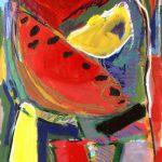 pizza slice landscape 1991 acrylic on paper 75x106